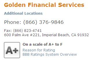 BBB Rating Golden Financial Services