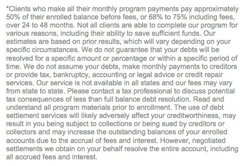 disclosures-for-debt-settlement-services