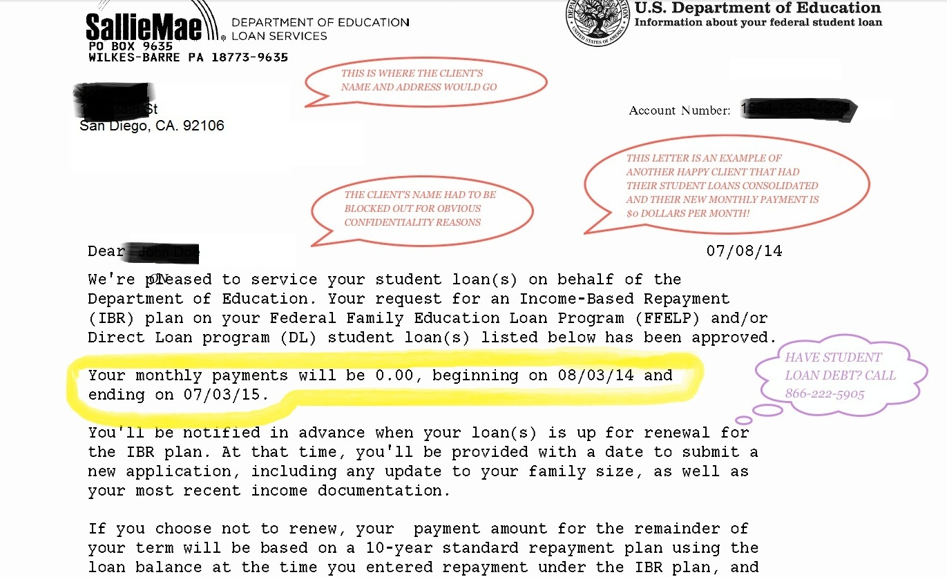 Student Loan Consolidation Example Letter