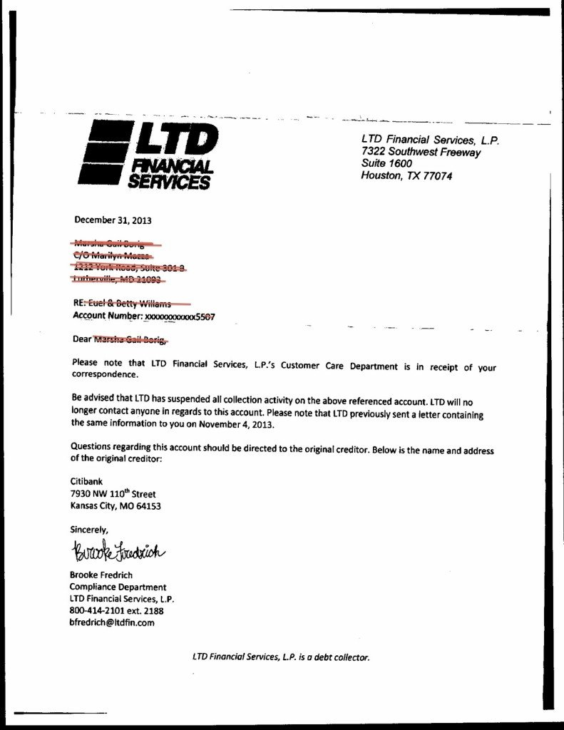 debt validation letter, example 1