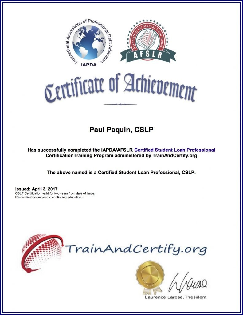 Paul Paquin is a member with the International Association of Professional Debt Arbitrators (IAPDA) Member - Specializing in private and federal student loan relief options.