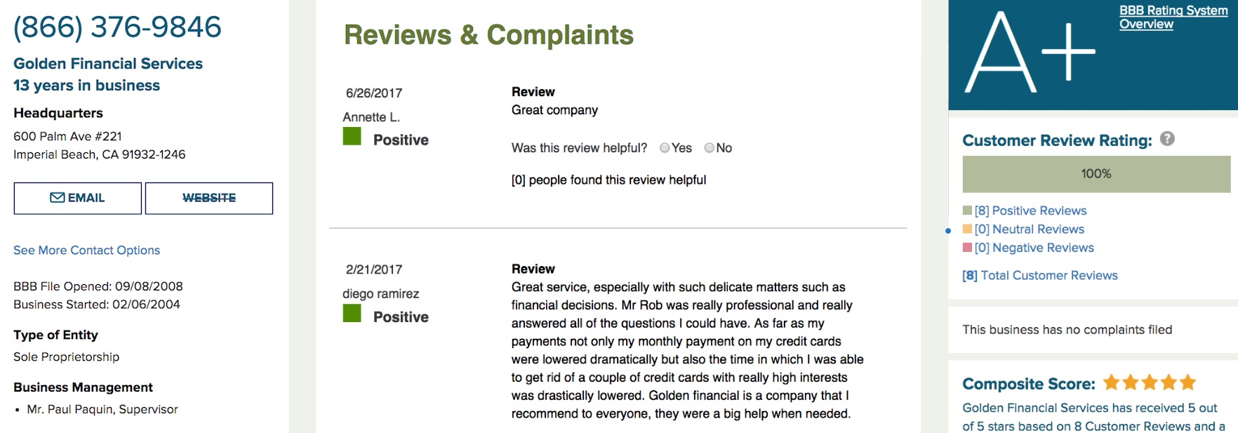 Golden Financial Services Client Testimonials and Reviews.